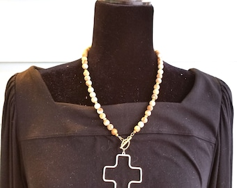 Short beaded necklace with Swiss cross pendant, 18 inch beaded necklace, picture jasper short beaded necklace with gold toggle and pendant
