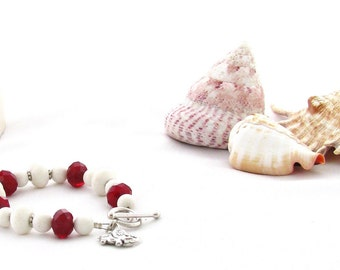 Elephant Charm Bracelet Red with Cream Sponge Coral