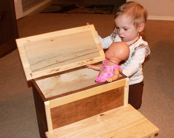 Handcrafted step stool with storage