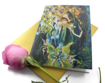 Dreaming - Greeting Card, Awakening Woman, Goddess Awake, Awakening Weaver, Blank Goddess Card, Sacred Art Card