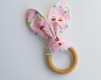 Baby girl teething toy, camper print teether, crinkle baby toy, organic wooden teether, bunny ear teething ring