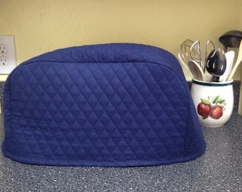 Sale! Sale! Sale! Navy Blue 4 Slice Toaster Cover Kitchen Quilted Fabric Small Appliance Cover Ready to Ship Next Business Day