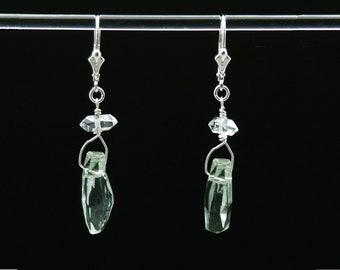 Green Amethyst earrings | Herkimer Diamond earrings | Amethyst and Herkimer earrings | Healing Vibration earrings in Sterling Silver