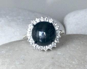 Lab Star Sapphire Engagement Ring- Halo Black Sapphire Ring- Alternative Engagement Ring- Black Gemstone Ring- Septemeber Birthstone Ring