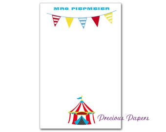 Personalized circus theme note pads Personalized teacher gift note pads carnival theme note pads circus tent notepads
