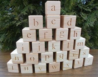 ABC blocks, Lowercase Wooden English alphabet blocks, Christmas gift, Wooden block letters, ABC, Wooden blocks, Baby shower gift