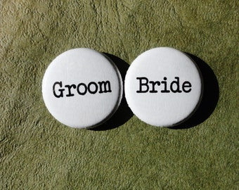 Bride and Groom - Handmade 1 Inch Pinback Button Duo for Weddings