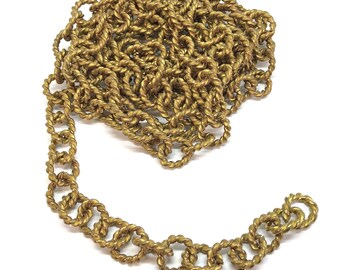 Vintage Handmade Link Chain, 5 Feet, Jewelry Making, Patina Brass, Heavy Twisted Link Chain, Jewelry Chain, Chain Links, B'sue, Item06852