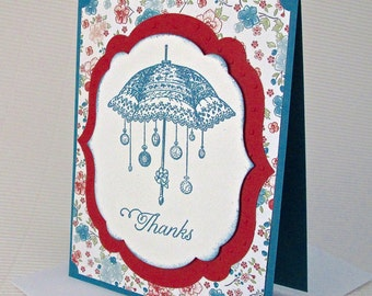 Thanks card handmade stamped sponged umbrella watches vintage-look floral rust blue stationery greeting party supplies
