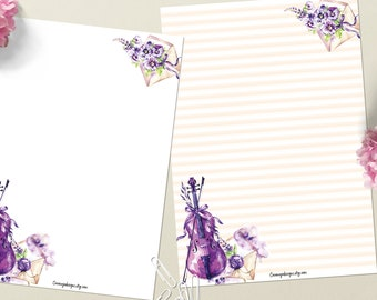 Purple Melody - DOWNLOAD file - Printable Writing paper - A5 size