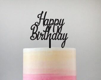 Happy Birthday Cake Topper - Standard Acrylic - 101
