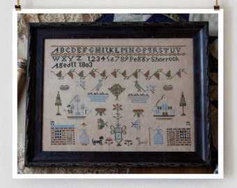 PLUM STREET SAMPLERS Antiques Peggy Shorrock 1803 counted cross stitch patterns reproduction sampler at thecottageneedle.com