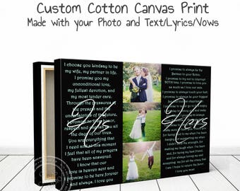 Wedding vows canvas, wedding vows, wedding vow canvas, wedding gift, wedding vow art vows on canvas, photo collage vows, your photo and vows