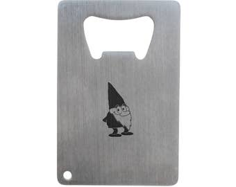 Garden Gnome Bottle Opener, Stainless Steel Credit Card Size, Bottle Opener For Your Wallet, Credit Card Size Bottle Opener