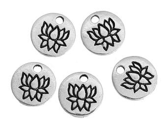 12 Lotus Charms, Antique Silver Tone (1E-153)