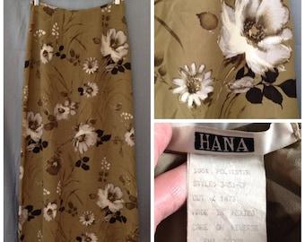 1990s brown floral A-line skirt, size small, lightweight, HANA brand