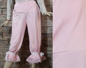 Calf length pink bloomers/Pantaloons/costume accessories/steampunk/ Victorian undergarment/renaissance/civil war/