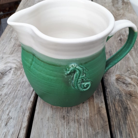 Pottery pitcher in white and seafoam green for juice or gravy home decor ocean inspired