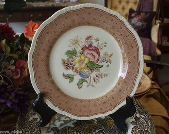 Vintage English Polychrome Brown Transferware Deep Plate or Shallow Bowl Floral Bouquet Roses