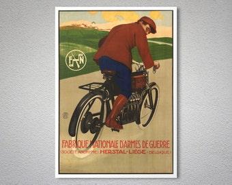 Fabrique Nationale d'Armes de Guerre, Belgique  Vintage Bicycle Poster - Poster Print, Sticker or Canvas Print / Gift Idea