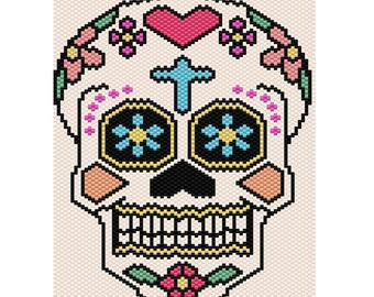 Sugar Skull Peyote Tapestry