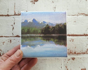 small canvas print, landscape painting , mountain print, print on canvas, artprint, small painting, tiny canvas, mini canvas 4x4 print