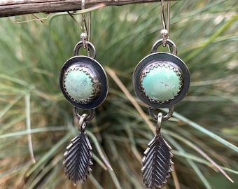Sterling silver and Broken Artow Turquoise dangle earrings