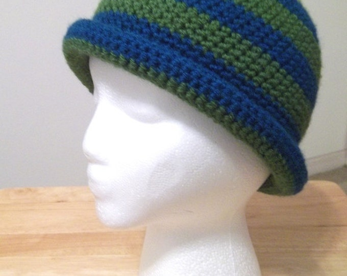 Hat - Striped Crochet Hat with a Roll Up Brim in Blue and Green - Size Small