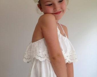 The Evie Flower Girl Dress - Boho Flower Girl Dress, Boho Wedding, Beach Wedding, Girls Lace Dress, Boho Style Dress