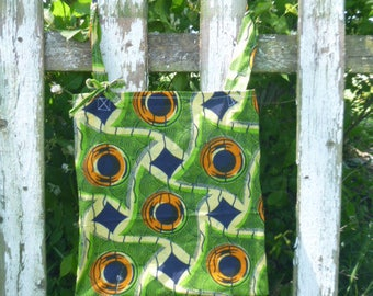 Batik Green Fabric Tote Bag Multi Use Green Eco Friendy Reuseable Cotton Shopping Book  Recycle  Upcycled