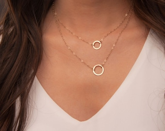 Two Layered Open Discs in Gold Necklace, Delicate Layered Necklace Gold, Layered Circle Necklace, Layered karma necklace, Two gold circles