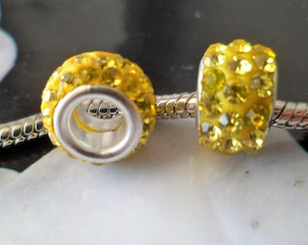 2 beads 10 X 8 mm silver plated yellow rhinestone Charms