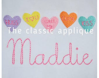 five mini fill stitch Valentine's Day candy conversation hearts embroidery design files