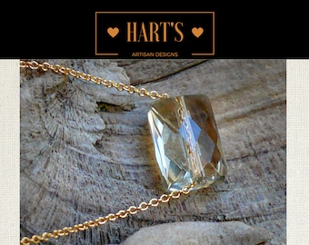 Lemon Quartz Pendant 14K Necklace