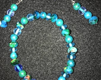 Aqua beaded bracelet with matching earrings
