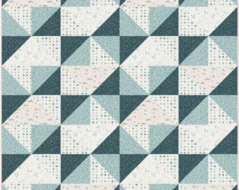 Hello There Pattern in Little Town by Amy Sinibaldi for AGF - 48x48 Precut Quilt Kit and Fabric for Binding