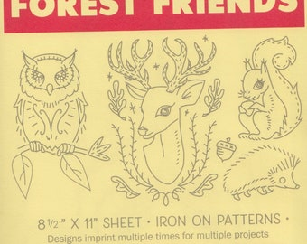 Modern Embroidery Pattern   Sublime Stitching Embroidery Patterns, Modern Hand Embroidery Design, Iron On Transfer - FOREST FRIENDS