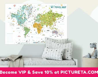 British word map etsy gift baby boy travel map world map wall art poster wall sciox Gallery