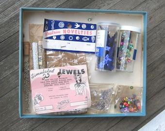 Lot of 1950s Trims/Notions: Cobalt Sequins, Beads, Tubes, Faux Pink Pearls, Half-Moon Cobalt Sequins & Jingle Bells in Vintage Revlon Box