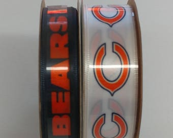FREE SHIPPING- 2 Piece Ribbon Set - Chicago Bears - NFL Licensed Offray Ribbon