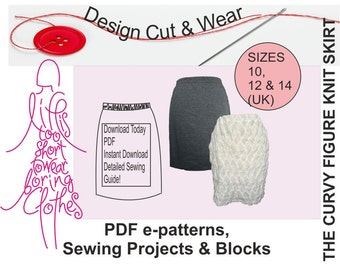 Knit / Stretch Skirt Pattern- Instant Download- suitable for beginner- Size 10,12 & 14 (UK sizes) -Fully Illustrated Instructions