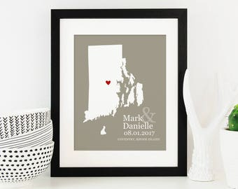 Rhode Island State Map Personalized, First Anniversary Gift, New England Bridal Shower, Belated Wedding Gift -  Art Print