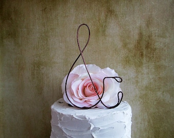AMPERSAND Wedding Cake Topper, Rustic Wedding Cake Decoration, Wedding Centerpiece,Personalized Wedding Cake Topper,Anniversary Cake Topper
