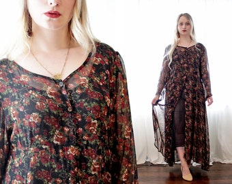 Vintage 1990s black sheer calico floral print dress duster jacket Papillon Vancouver Los Angeles Mexico made in India