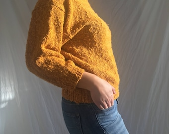 1980's Vintage Women's Mock Turtleneck Sweater, Cropped Sleeves  - Mustard Yellow - Knit / Pile -  fits modern size Small or Medium