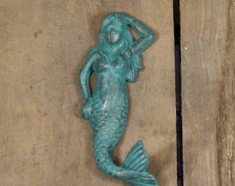 Teal and Gold Cast Iron Mermaid Wall Hook