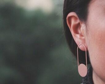 Contemporary earrings, rose gold filled silver long earrings, modern earrings on women, abstract earrings, dangle earrings
