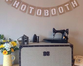 PHOTOBOOTH Vintage Wedding Bunting Banner. Birthday Party. Hessian Burlap