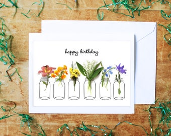 all occasions card, floral greeting card, flowers notecard, botanical garden, birthday card, thank you,get well soon,congratulations,rainbow