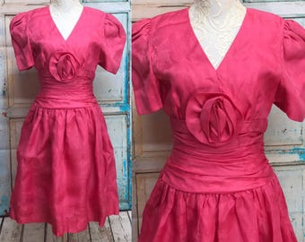 80s Carolina Herrera Bright Pink Silk Party Prom Dress